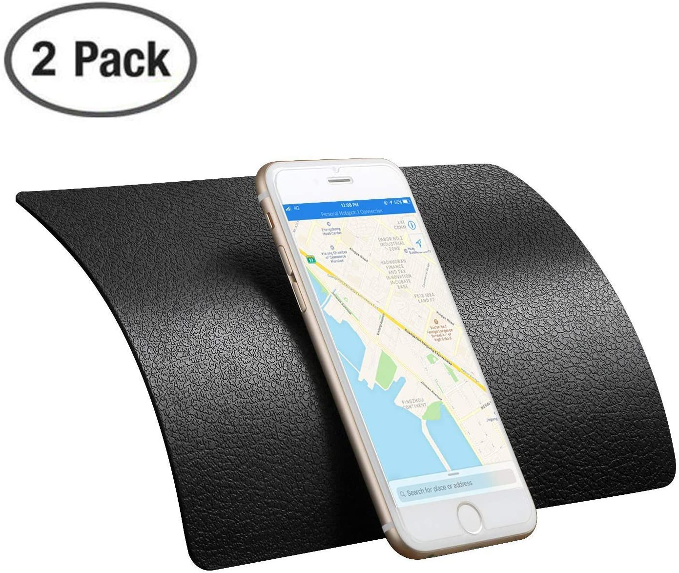 Karlor 2 Pack Sticky Anti-Slip Gel Pads for Cell Phones, Premium Non-Slip Car Dashboard Mat for Cell Phones, Sunglasses, Keys, Speakers,Coins and More-Black (Large Size 8.9 X 5.7 inch)