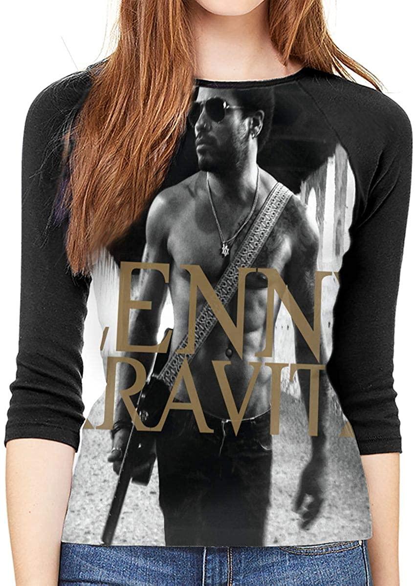 SkyeDana Lenny Kravitz Womens Fashion Casual 3/4 Sleeves Shoulder Round Neck Baseball T-Shirt Shirt Long Shirt