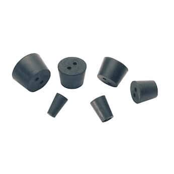 Cole-Parmer Two-Hole Black Rubber Stoppers, Standard Size 8; 13/Pk