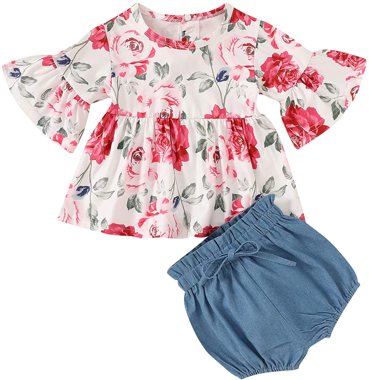 Kids Toddler Baby Girls Summer Short Set Floral Bell-Sleeve Shirt Dress Solid Color Shorts Clothes Outfits