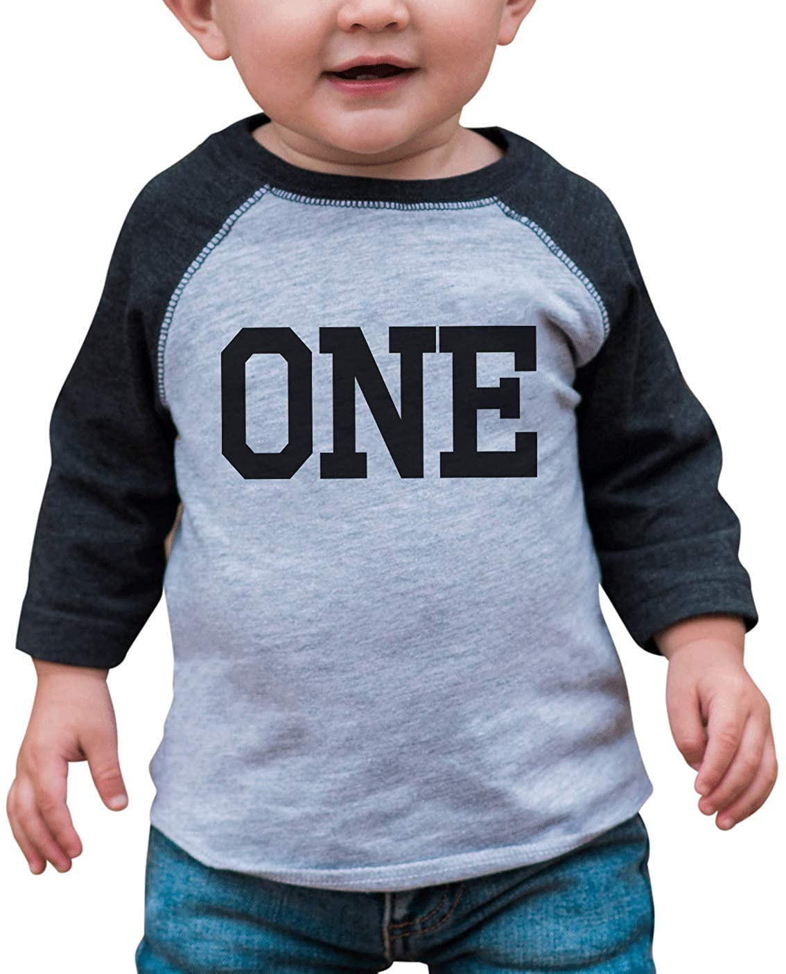 7 ate 9 Apparel Boy's First Birthday One Vintage Baseball Tee Grey and Black