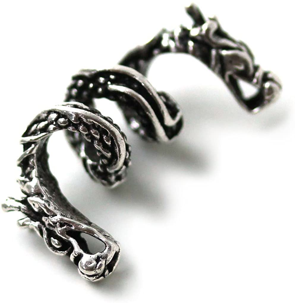 LynnAround 925 Sterling Silver Norse Viking Dragon Beard Beads Rings, Dreadlock Pirate Hair Beads, Pagan Jewelry