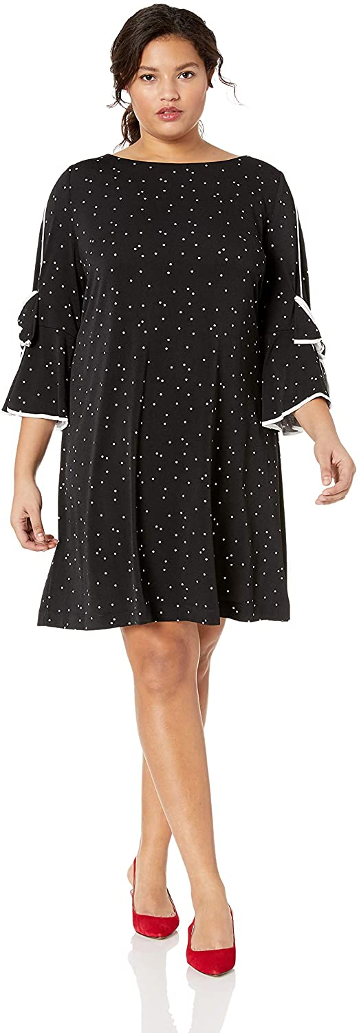 Gabby Skye Women's Plus Size Round Neck 3/4 Bow Sleeve Dot Sheath Dress