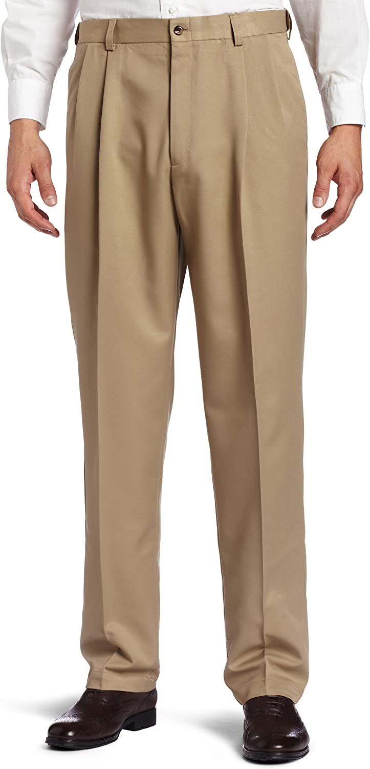 Haggar Men's Cool 18 Heather Solid Pant - Regular - 32W x 30L - British Khaki