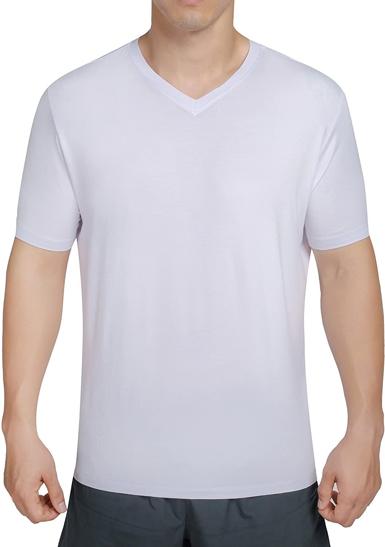 worboo Bamboo T-Shirt for Men, Breathable Soft Plain Men's Undershirts - V Neck