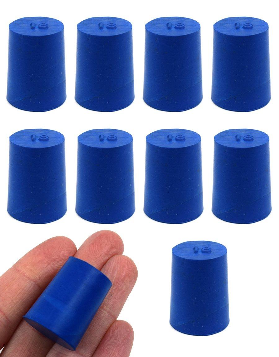 Neoprene Stopper Solid - Blue, Size: 18mm Bottom, 21mm Top, 26mm Length - Pack of 10