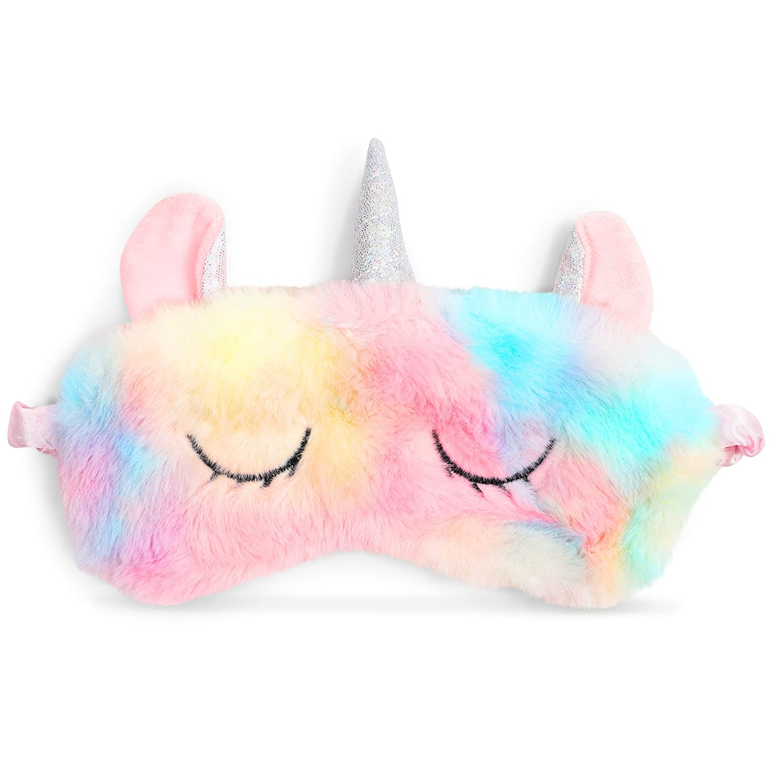 Satin and Faux Fur Unicorn Sleep Eye Mask in Tie-Dyed Design (7.5 x 6 In)