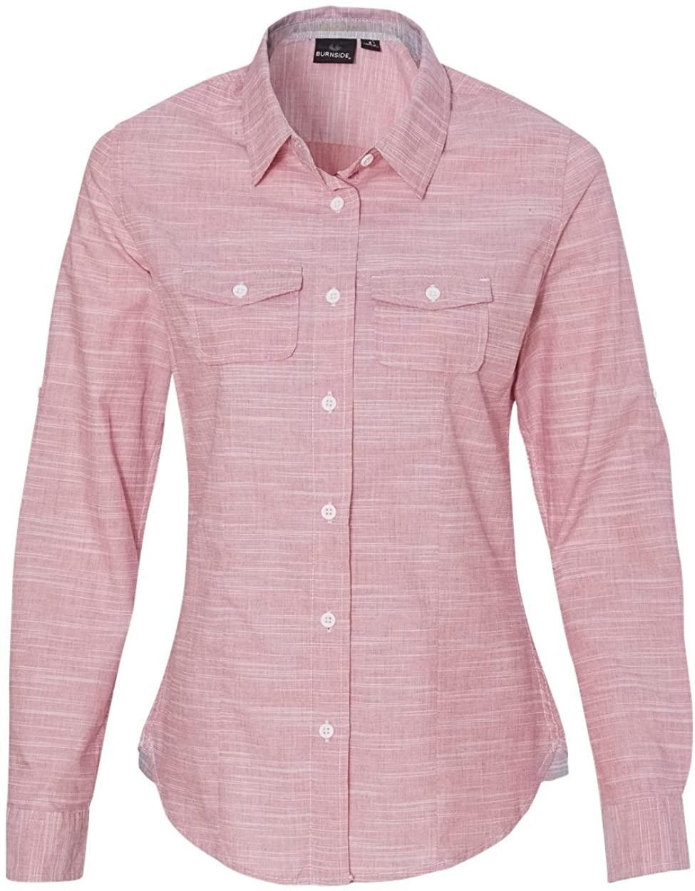 Burnside womens Textured Solid Long Sleeve Shirt (5247)