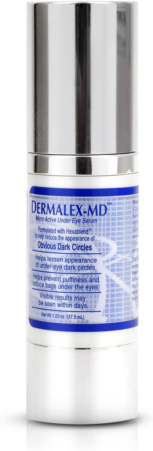 Dermalex-MD Under Eye Serum -- Remove Dark Circles - Reduce Bags Puffiness & Sagging - Fade Discoloration -- Advanced Anti Aging Formula with Collagen Boosting Peptides & Natural Lighteners (1.25 oz)