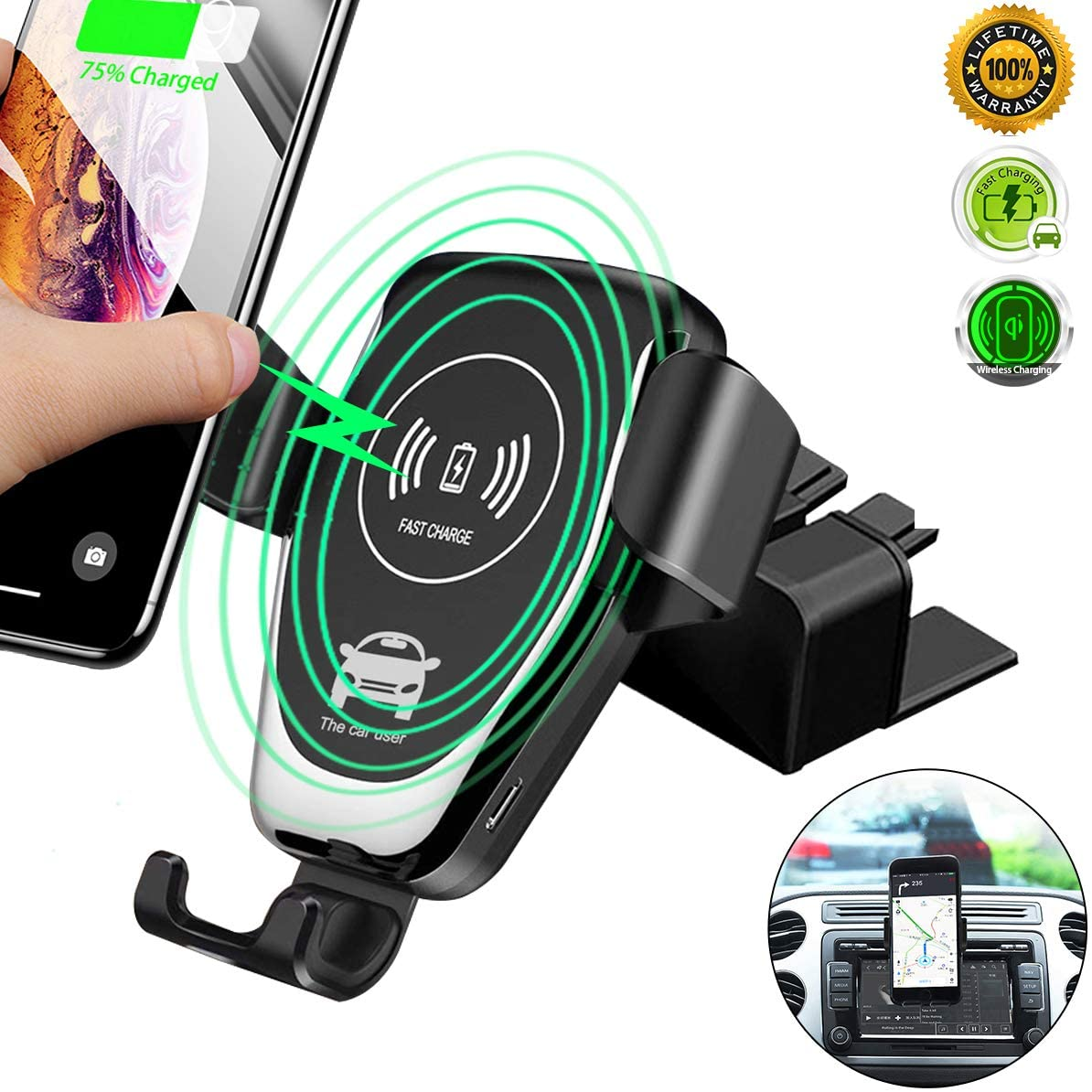 CD Slot Wireless Car Charger,10w Fast Charge CD Mount Phone Holder Car Mount,[All Qi-Enable Devices][Gravity Sensor] Phone Mount for Samsung Galaxy S10/S10 Plus Note9/S9/S8 iPhone 11 Pro/X/XR/XS Max