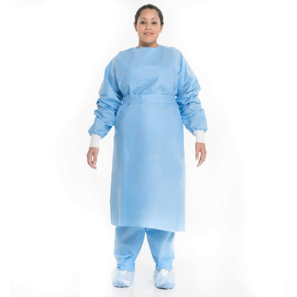 Procedure Gown, Velcro Neck Closure, Knit Cuffs, Capacity, Volume, SMS, Universal, Blue (Pack of 10)