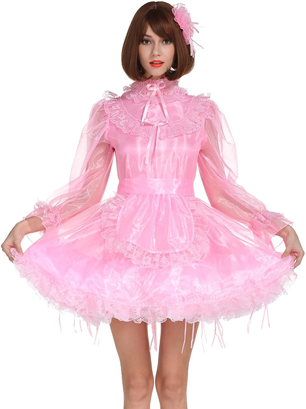 GOceBaby Sissy French Maid Long Sleeve Shimmering Pink Organza See Through Crossdress
