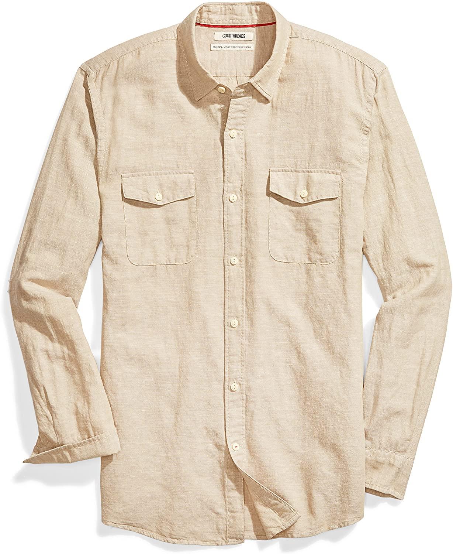 DHgate Brand - Goodthreads Men's Standard-Fit Long-Sleeve Linen and Cotton Blend Shirt