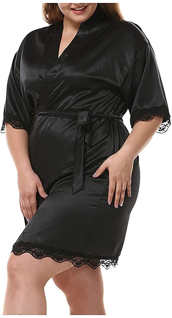 MoonHome Plus Size Sleepwear Women Lace Patchwork Lace Up V Neck Solid Open Front with Belt Imitated Silk Nightgowns