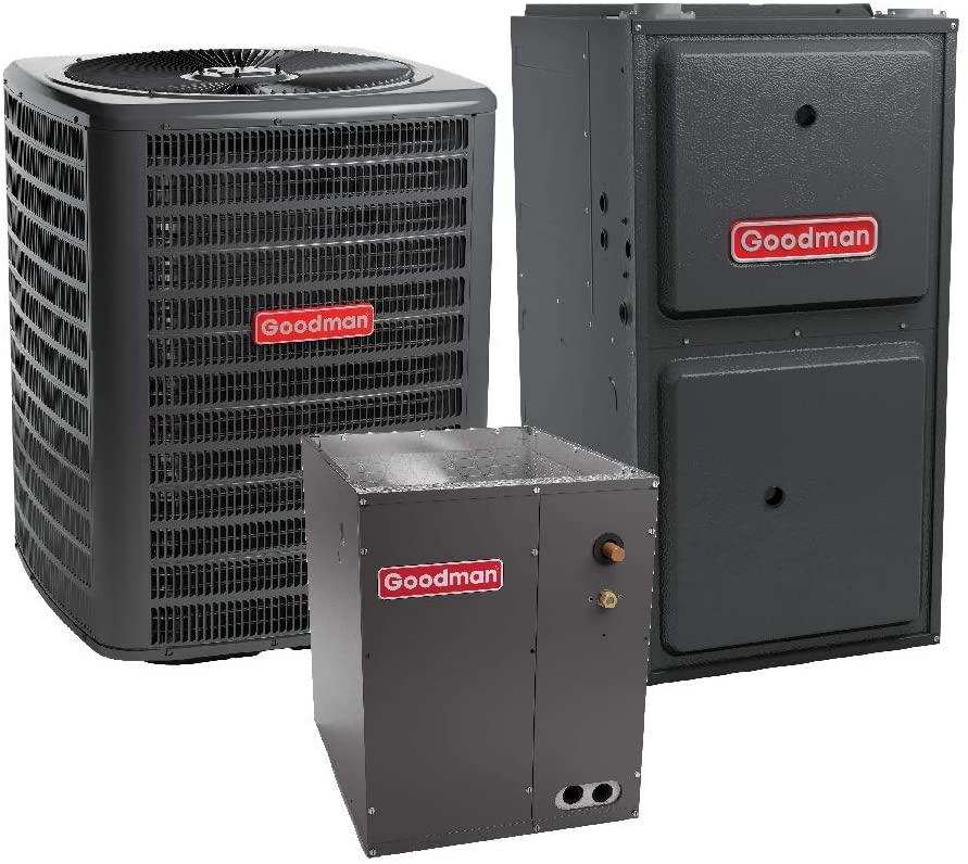 Goodman 3 Ton 14.5 SEER Air Conditioner GSX140361, Coil CAPF3743C6, 100,000 BTU 97% AFUE Downflow Gas Furnace GCVM971005CN