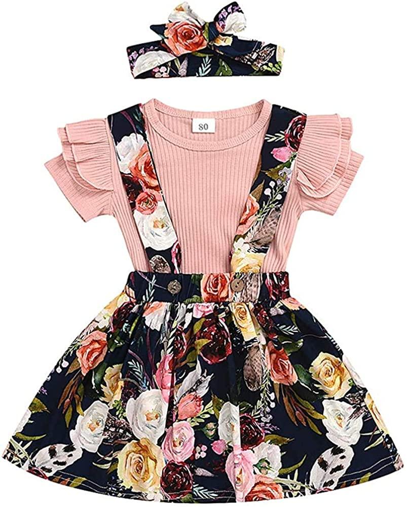 Toddler Baby Girl Suspender Skirt Sets Short Sleeve Ruffle Tops+Floral Dress+Headband 3Pcs Toddler Girl Spring/Summer Outfits