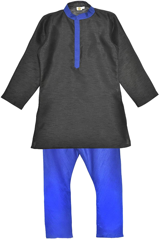 K&U Boys' Regular Fit Silk Kurta Pajama set