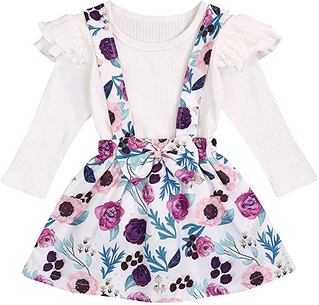 Toddler Baby Girl Outfits Ruffled Knitted Shirt + Strap Overall Skirt Set Spring Outfits Clothes
