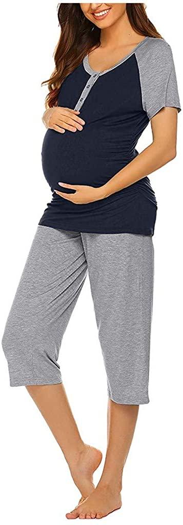 Fashion Maternity Clothes,Women Maternity Short Sleeve Top T-Shirt+Capri Pants Nursing Pajamas Set