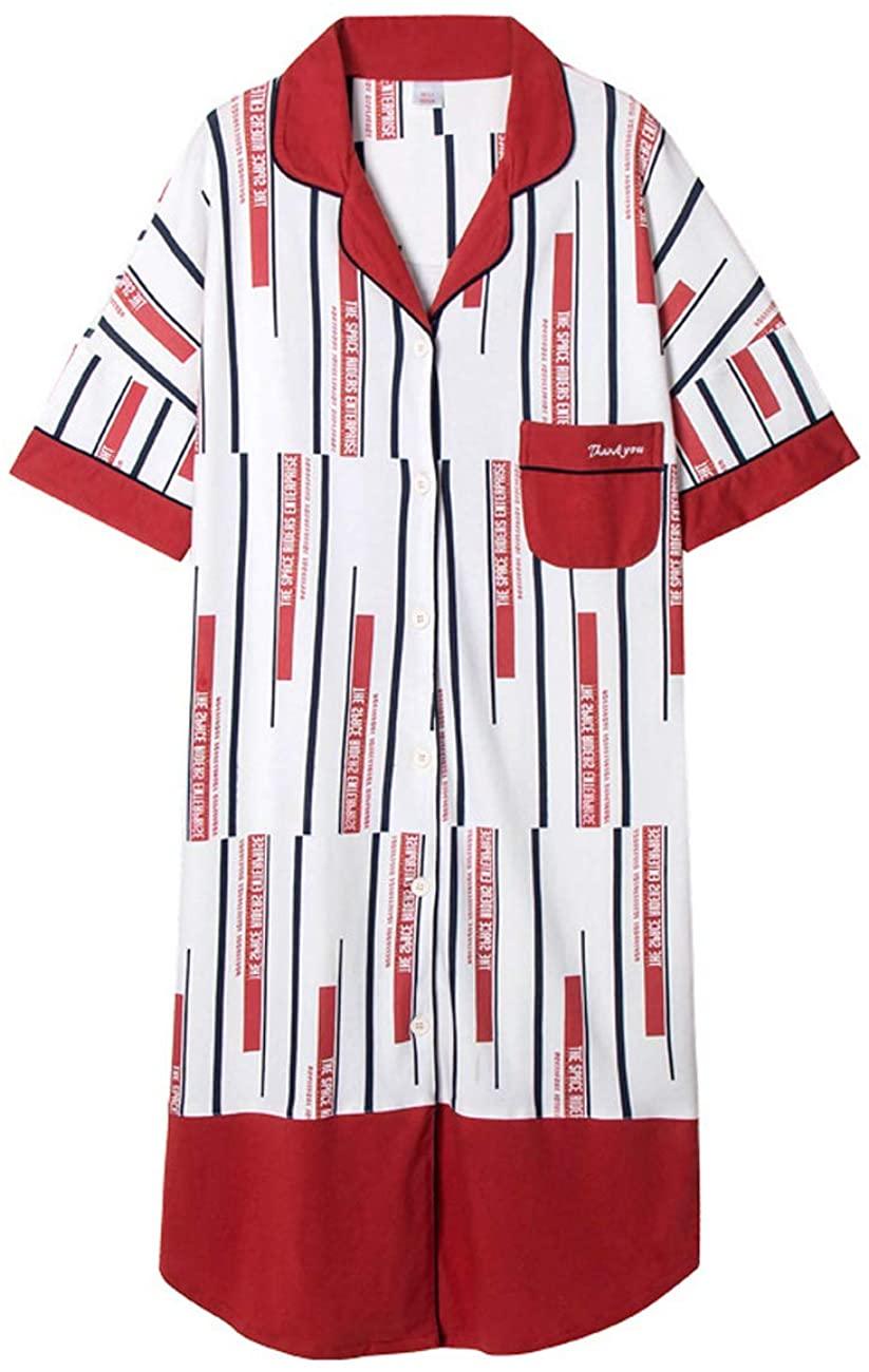 Femiserah Women's Plaid Nightgown V Neck Short Sleeve Nightshirt Nightdress Loose Sleepwear