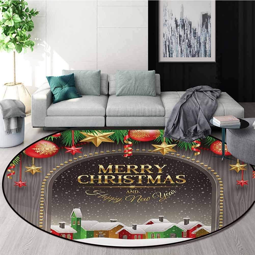 RUGSMAT Christmas Dining Room Home Bedroom Carpet Floor Mat,Classic Rustic Design Season Greetings Golden Colored Letters Village Ornaments Non Slip Rug,Diameter-39 Inch Multicolor