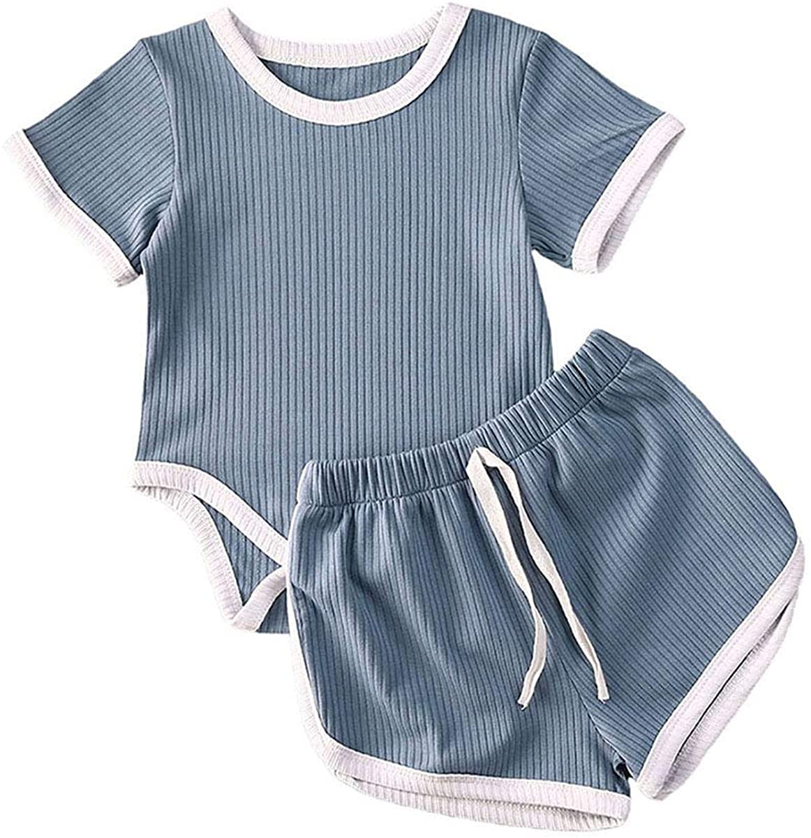 Newborn Baby Girls Summer Knit Outfits Set Toddler Girls Basic Romper Tops + Drawstring Shorts 2Pcs Clothes
