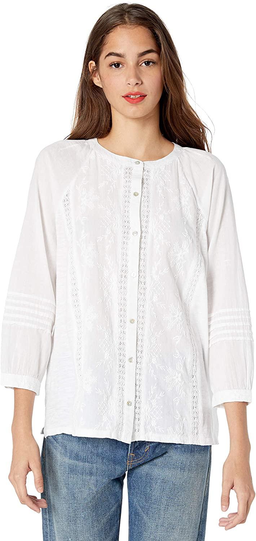 Lucky Brand Women's Embroidered Sleeve Shirt