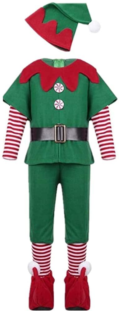 LSERVER Kids' Christmas Elf Costume Cosplay Parent-Child Costume