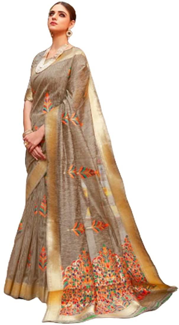 Stylish Festival Party Wear Soft Linen Saree Sari Blouse Muslim Women Indian Dress 9817B