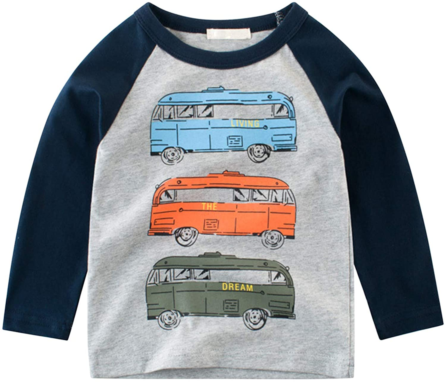 Baby Boys Long Sleeve Blouse Shirts Cute Excavator Print Graphic Pullover Tops