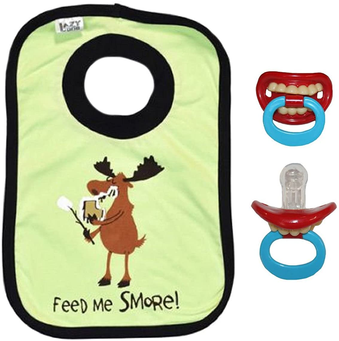 Feed Me Smore! Comical Pull-Over Baby Bib & Comical Pacifier Gift Set