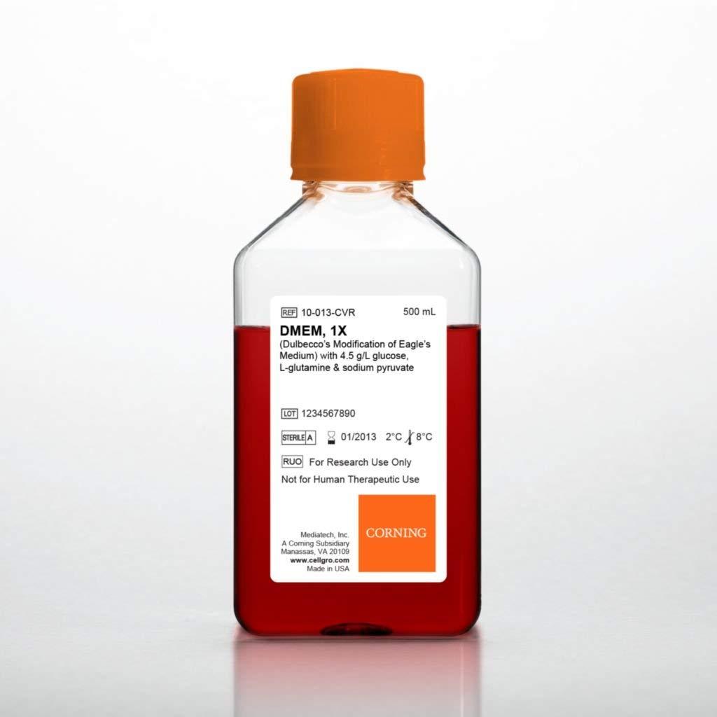 Mediatech 50-013-PC Dulbeccos Modification of Eagles Medium, Powder, 4.5 g/L Glucose and L-glutamine, Without Sodium Bicarbonate and Sodium Pyruvate