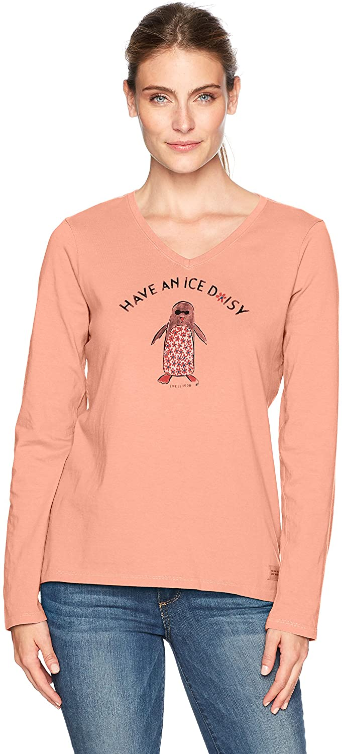 Life is Good Womens V-Neck Long Sleeve Graphic T-Shirt Collection