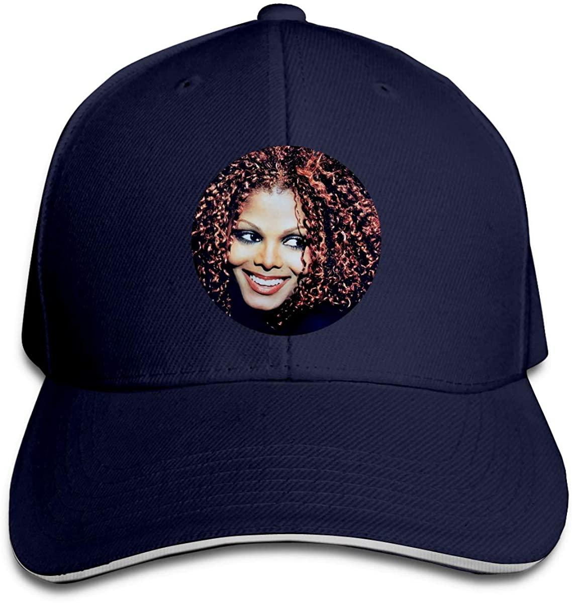 Janet Jackson Hip Hop Baseball Cap Golf Trucker Baseball Cap Adjustable Peaked Sandwich Hat Black Unisex Casquette Natural