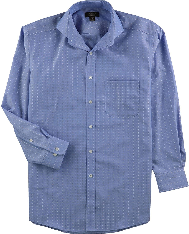 Tasso Elba Mens Diamond Print Button Up Dress Shirt