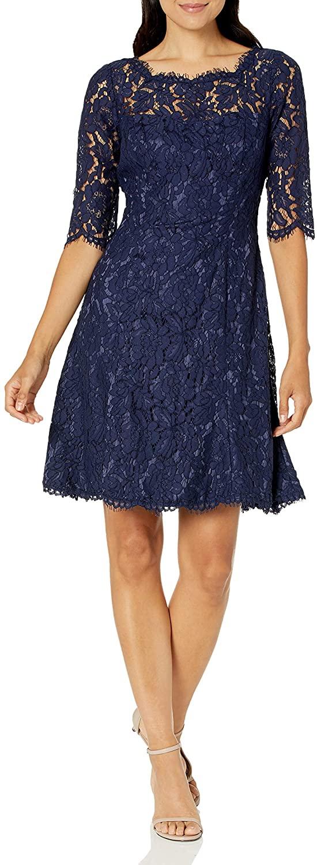 Eliza J Womens Quarter Length Sleeve Lace Fit and Flare Dress