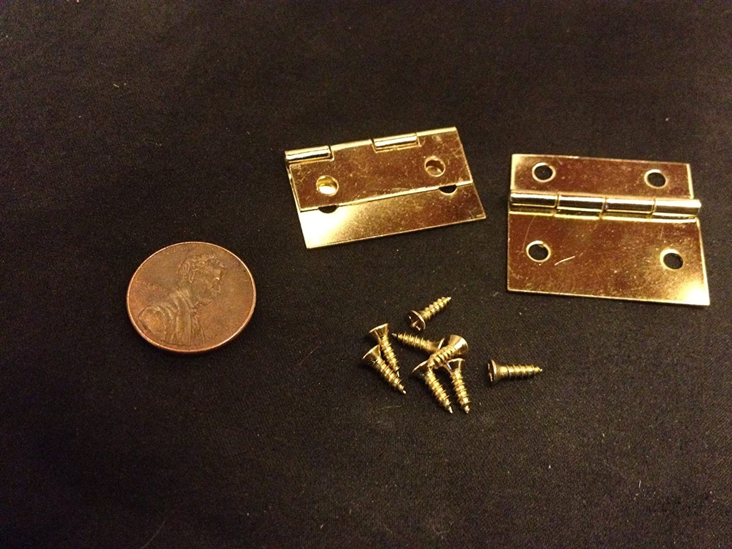 Brass Hinges - 1-1/4 Inches - 2 Sets Hinge Small Mini Doll House Antique Latch Hook Carved Wood Box A10