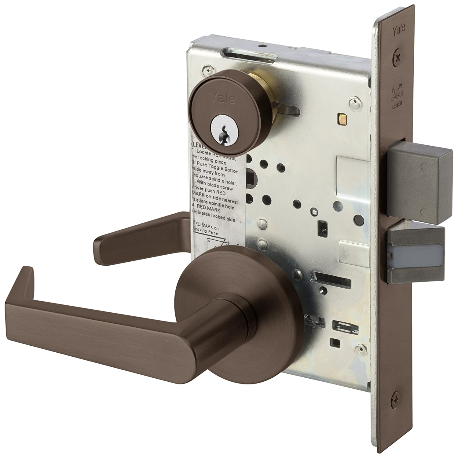 Yale 8822FL RH AUR 613E LESS CY 8800 Mortise Lockset, Grade 1, Rose Only, Dormitory or Exit with Deadbolt, RH Field Reversible, Cylinder Not Included, 613E Dark Satin Bronze