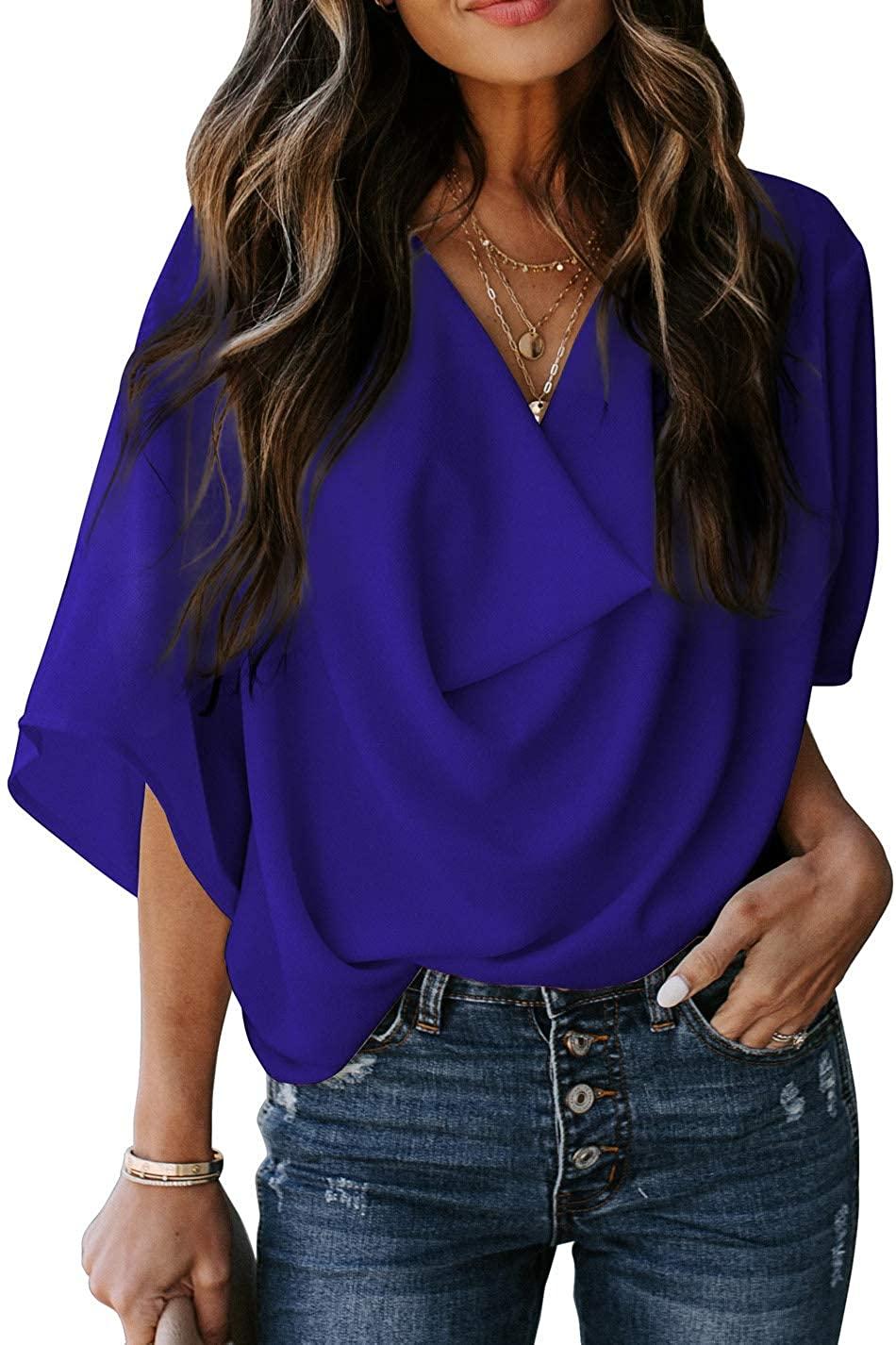 CILKOO Womens V Neck Wrap Drape Tops Casual Loose Half Bell Sleeve Shirts Chiffon Blouses(S-XXL)
