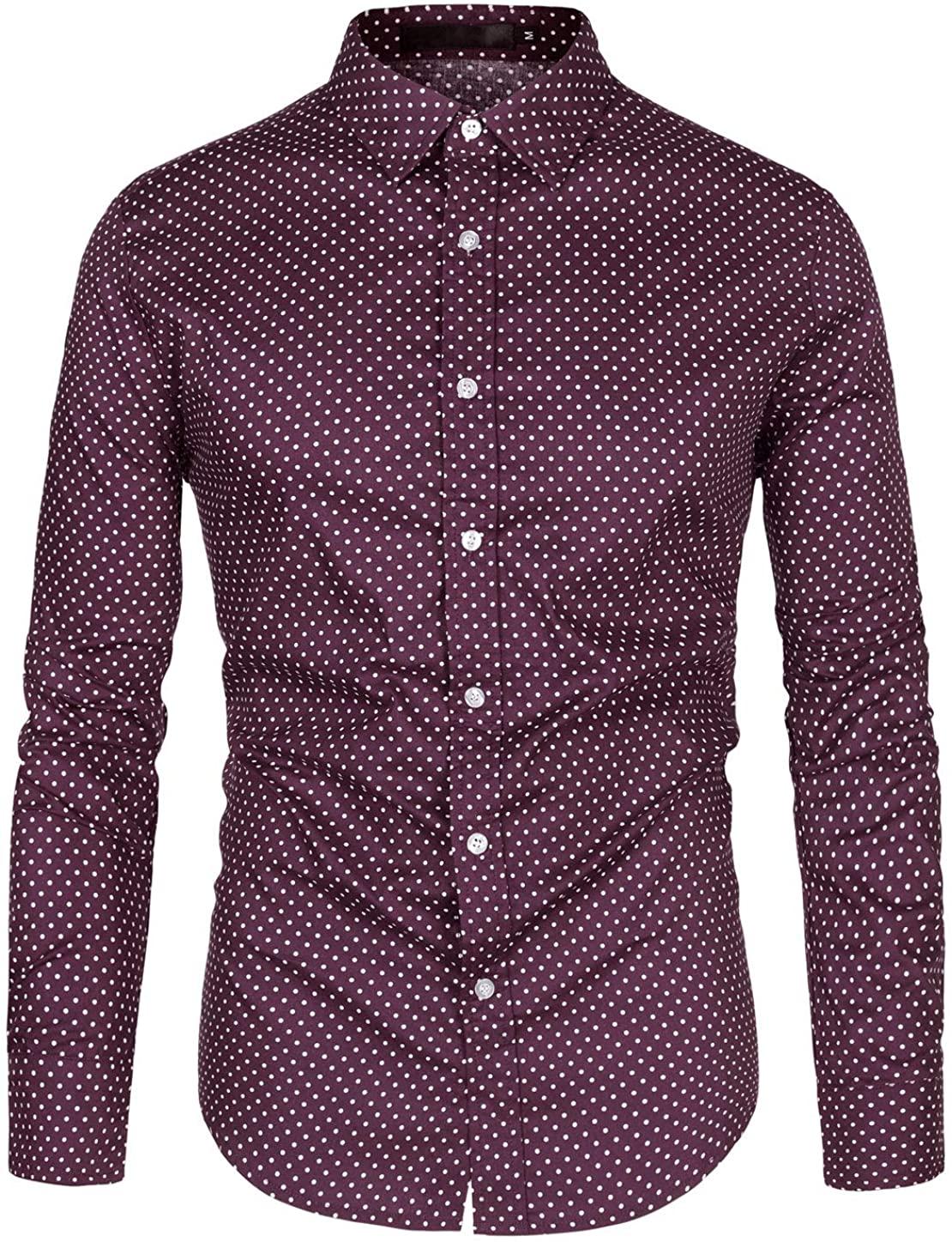 uxcell Men's Printed Dress Shirt Cotton Polka Dots Long Sleeve Button Down Business Casual Shirt