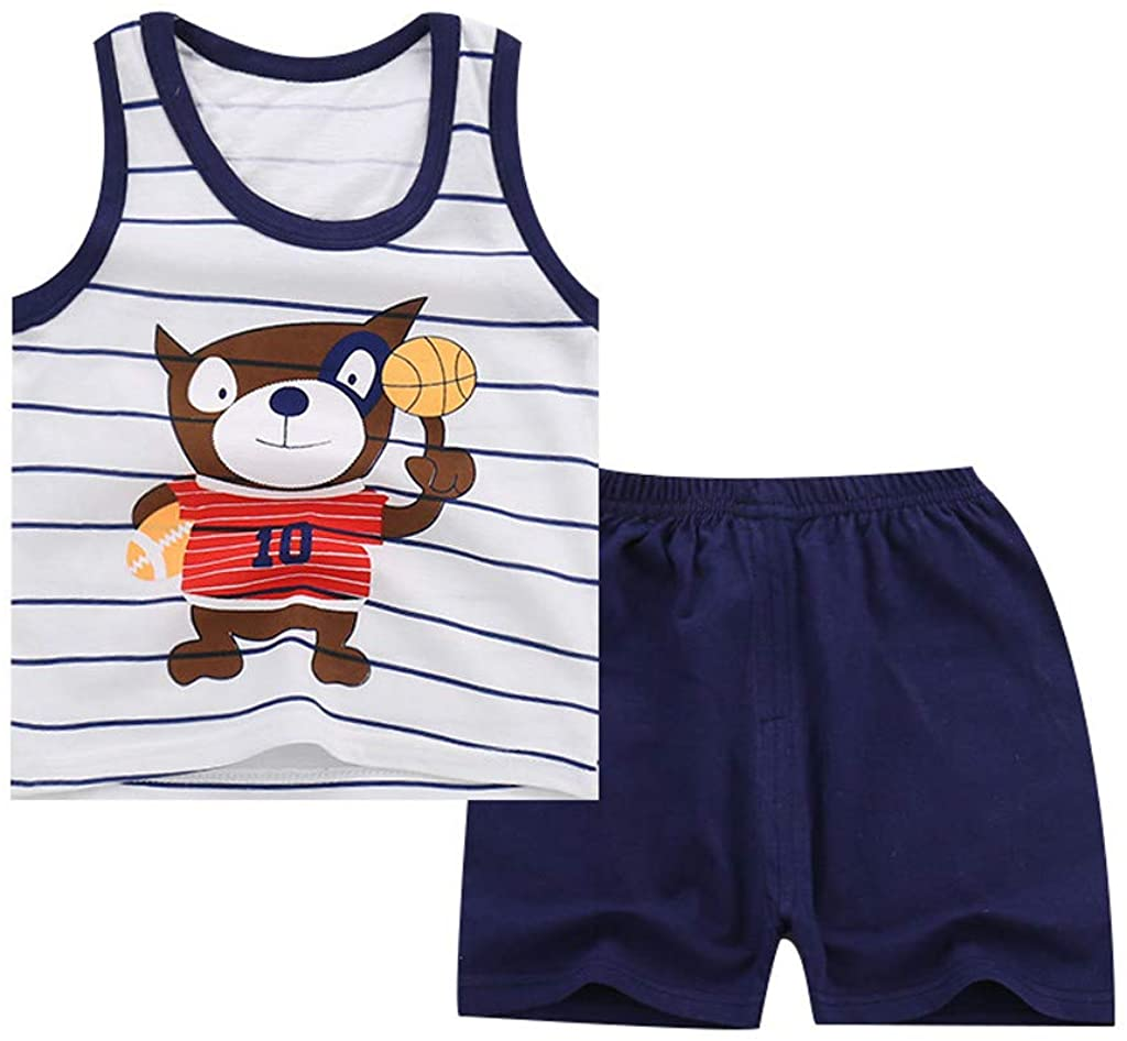 Kehen- Toddler Clothes Infant Baby Boy Girl Summer Outfit Cotton Pajamas Sleeveless Vest Tee and Shorts Set PJS Suit