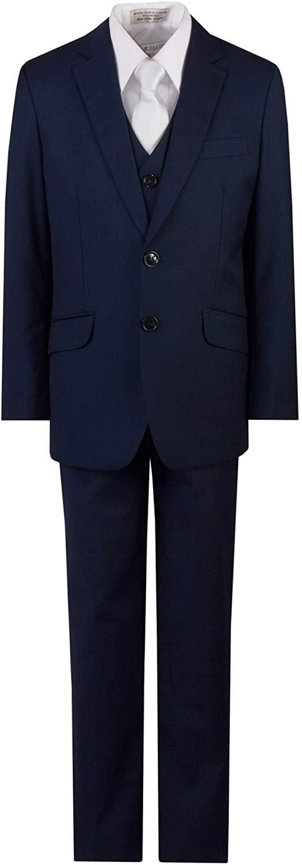 Tuxgear Boys Slim Fit Communion Suit Navy Blue with Suspenders & White Tie