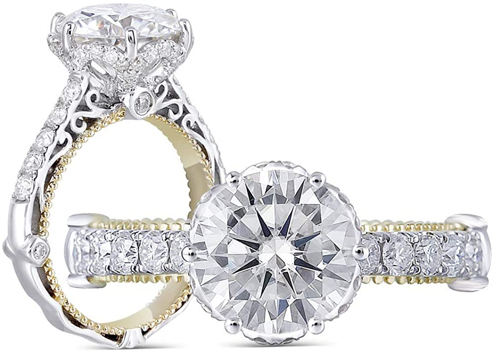 Aviant Jewelers Platinum Plated Sterling Silver 3 ctw Cubic Zirconia Vintage Designer Engagement Ring for Women