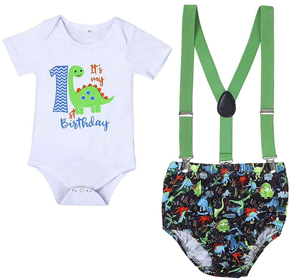 Baby Boys 1st Birthday Cake Smash Dinosaur Caterpillar Outfit Romper Bloomers Suspenders 3PCS Photo Props Clothes Set