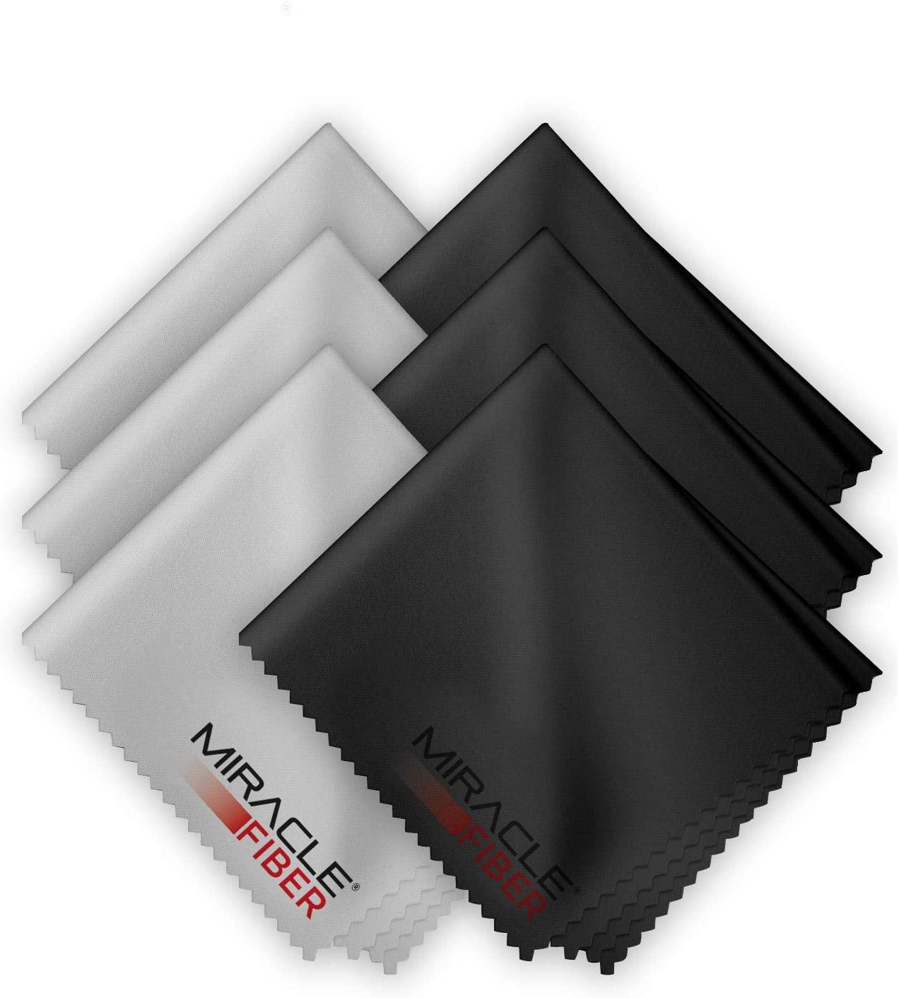 Miracle Fiber Microfiber Cleaning Cloths (6 Pack), Black/Grey