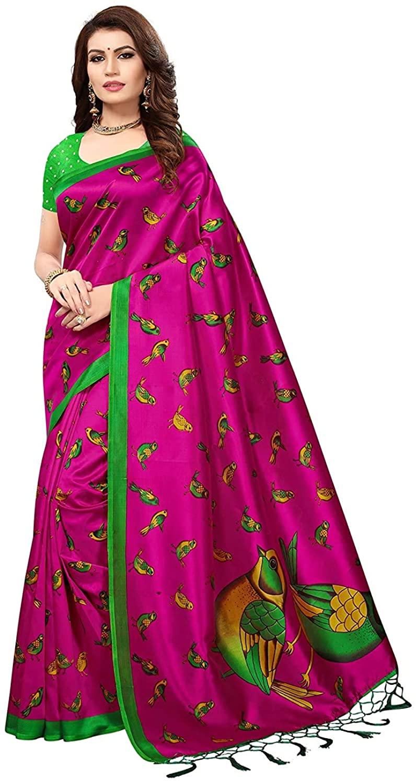 Silk with Blouse Piece Saree (Sparrow Pink Free Size)