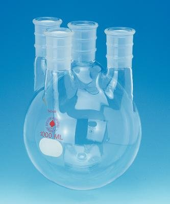 ACE Glass 6952-260 Four Neck Boiling Flask, Round Bottom, Heavy Wall, 5 L Capacity, 45/50 Center Joint, 24/40 Side Joint