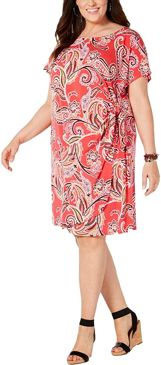 Signature by Robbie Bee Womens Plus Printed Textured Wrap Dress Pink 3X