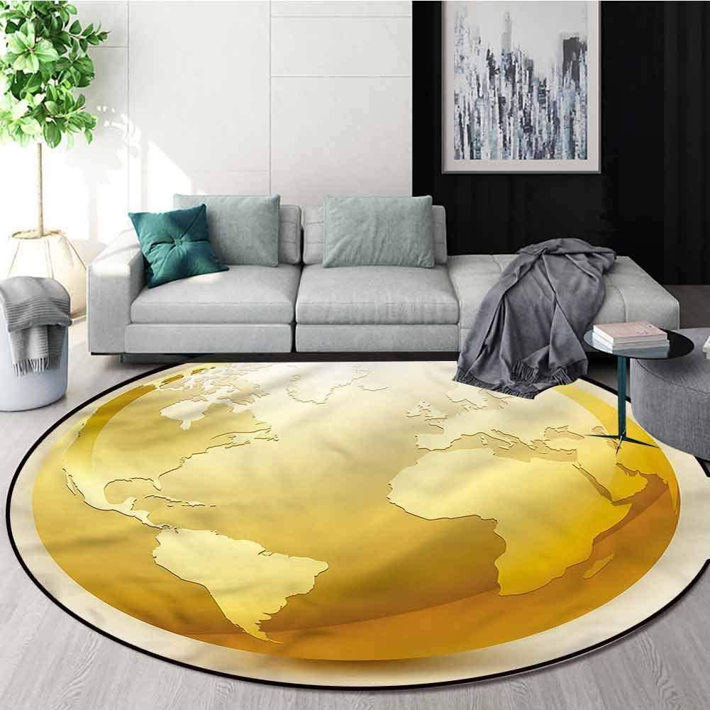 RUGSMAT Earth Modern Machine Washable Round Bath Mat,Vivid Earth Icon Sphere Carpet Door Pad for Bedroom/Living Room/Balcony/Kitchen Mat Diameter-35