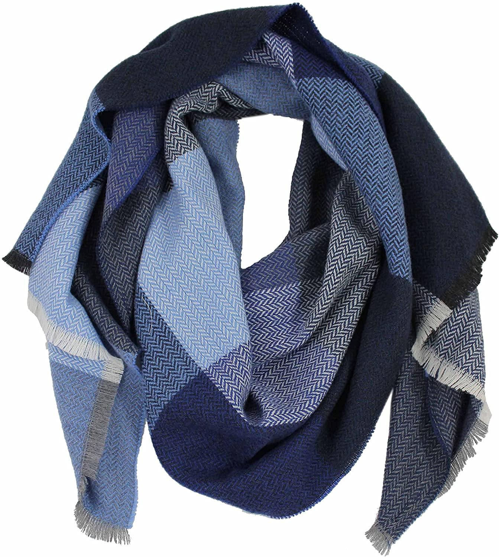 Scarf woven scarf check herringbone fashionable blue 100% wool (Merino)